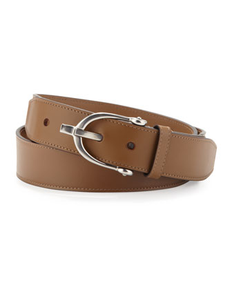 Stirrup-Buckle Leather Belt, Tan