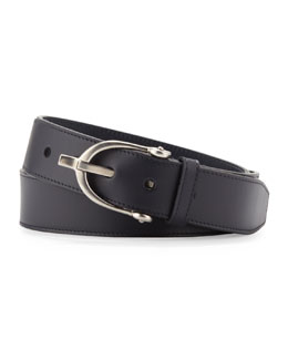 Gucci Stirrup-Buckle Leather Belt, Navy