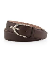 Stirrup-Buckle Leather Belt, Brown