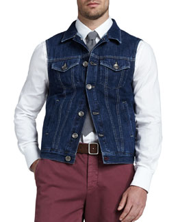 Brunello Cucinelli Denim Button Vest