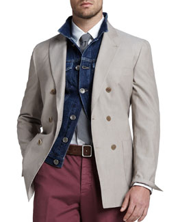 Brunello Cucinelli 1.5 Breasted Cotton Blazer
