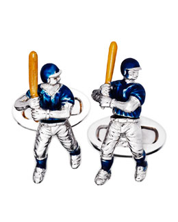Jan Leslie Baseball Player Moving Cuff Links