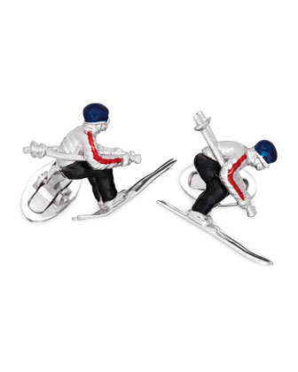 Skier Moving Cuff Links
