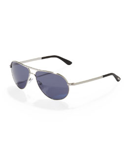 Tom Ford Marko Aviator Sunglasses, Shiny Rhodium
