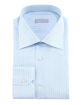 Micro-Dash Striped Dress Shirt & Paisley Silk Tie