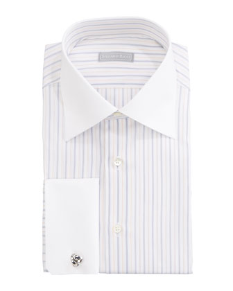 Contrast-Collar Striped Dress Shirt & Paisley Silk Tie