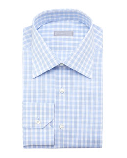 Stefano Ricci Check Dress Shirt, Light Blue