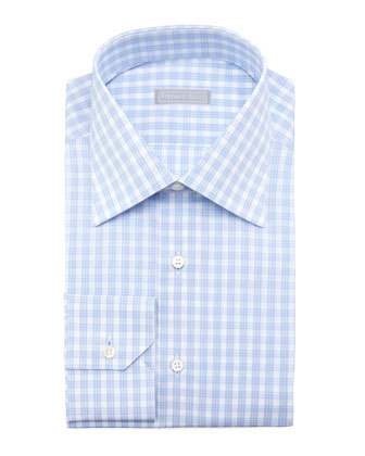 Check Dress Shirt, Light Blue