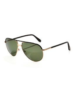 Tom Ford Cole Metal Aviator Sunglasses, Shiny Black