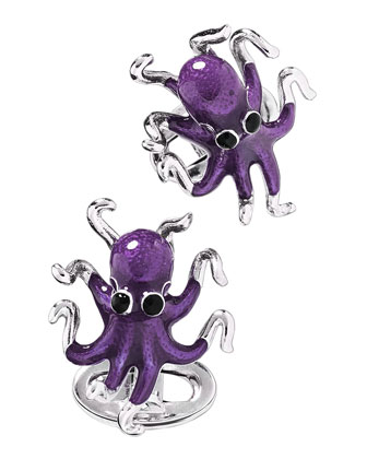 Octopus Cuff Links, Purple