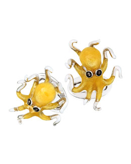 Jan Leslie Octopus Cuff Links, Yellow