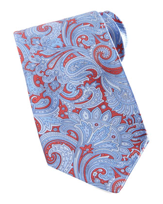Paisley Silk Tie, Red/Blue