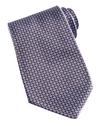 Mini-Grid Silk Tie, Brown/Blue