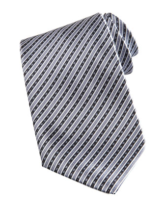 Striped Silk Tie, Gray/White