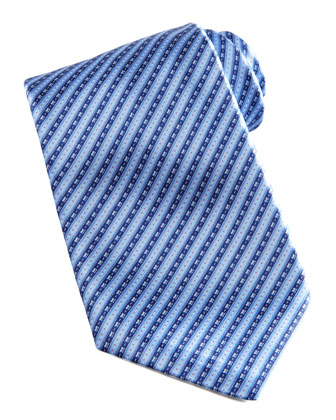 Striped Silk Tie, Blue/Navy