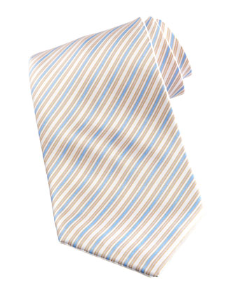 Striped Tie, White/Blue
