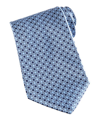 Medallion-Pattern Silk Tie, Blue