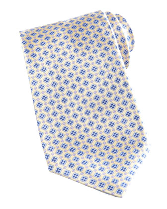 Mini-Medallion Silk Tie, Yellow/Blue