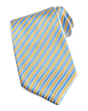 Stefano Ricci Striped Silk Tie, Yellow/Blue
