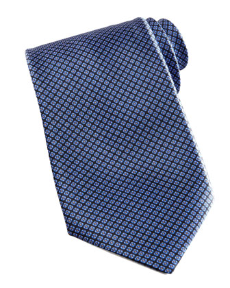 Micro-Grid Silk Tie, Navy/Blue