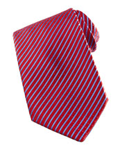 Stefano Ricci Narrow-Stripe Silk Tie, Red/Blue
