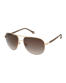 Ermenegildo Zegna Metal Aviator Sunglasses, Gold