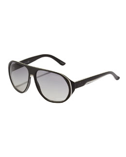 Gucci Web Plastic Aviator Sunglasses, Black/White
