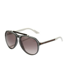 Gucci Two-Tone Aviator, Gray