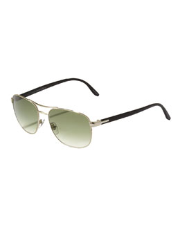Gucci Metal Navigator Sunglasses, Light Gold