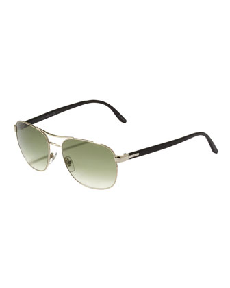Metal Navigator Sunglasses, Light Gold