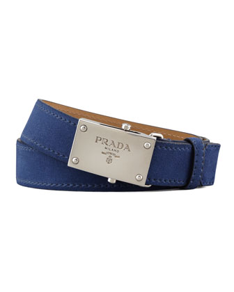 Suede Logo Belt, Navy