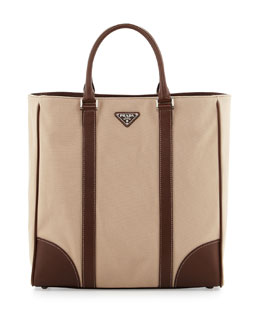 Prada Canvas Leather Tote Bag, Beige/Brown