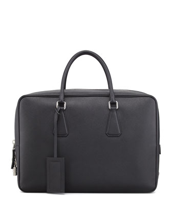 Saffiano Zip-Top Briefcase Bag, Black