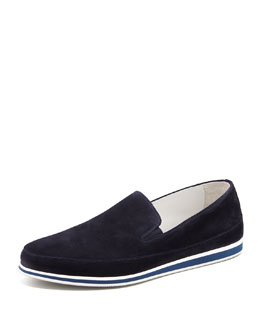 Prada Suede Slip-On, Navy