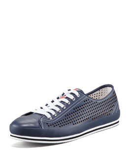 Prada Perforated Low Sneaker, Navy