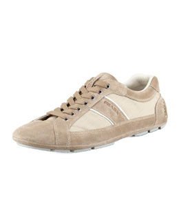 Prada Low-Profile Nylon-Suede Sneaker, Tan