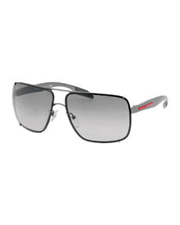 Prada Square Metal Sunglasses, Gray