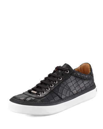 Portman Crocodile-Embossed Sneakers, Black