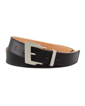 Leather Diagonal-Buckle Belt