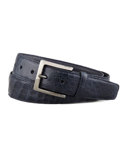 Santiago Gonzalez Crocodile Belt, Navy