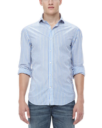 Woven Striped Sport Shirt, Denim Blue