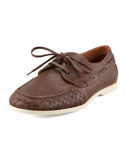 Bottega Veneta Woven-Edge Boat Shoe, Brown