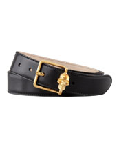 Alexander McQueen Skull Buckle Leather Belt, Black