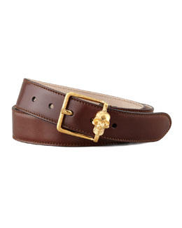 Alexander McQueen Skull Buckle Leather Belt, Tan