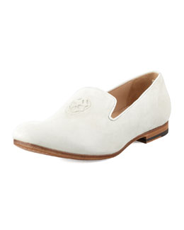 Alexander McQueen Suede Skull-Embossed Loafer, Pale Grey