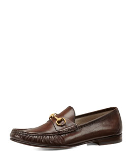 Gucci Leather Horsebit Loafer, Cocoa