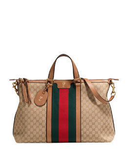 Gucci Original GG Canvas Duffel Bag with Web