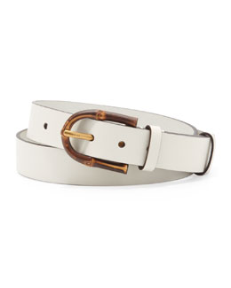 Gucci Bamboo-Buckle Leather Belt, White