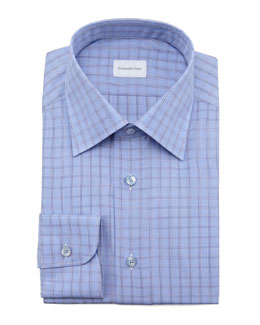 Ermenegildo Zegna Check Dress Shirt, Blue