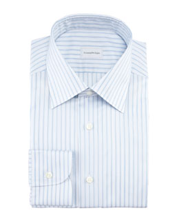 Ermenegildo Zegna Striped Dress Shirt, Light Blue